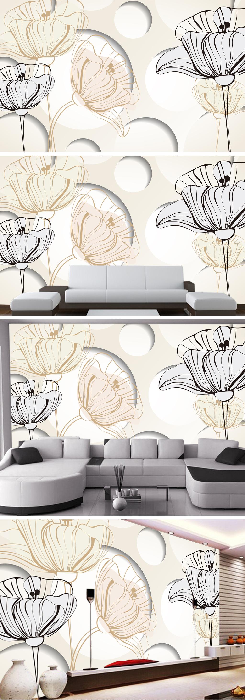 线条 淡雅手绘 花朵线稿彩绘线条线描花卉 3d 精美 浪漫 现代 时尚