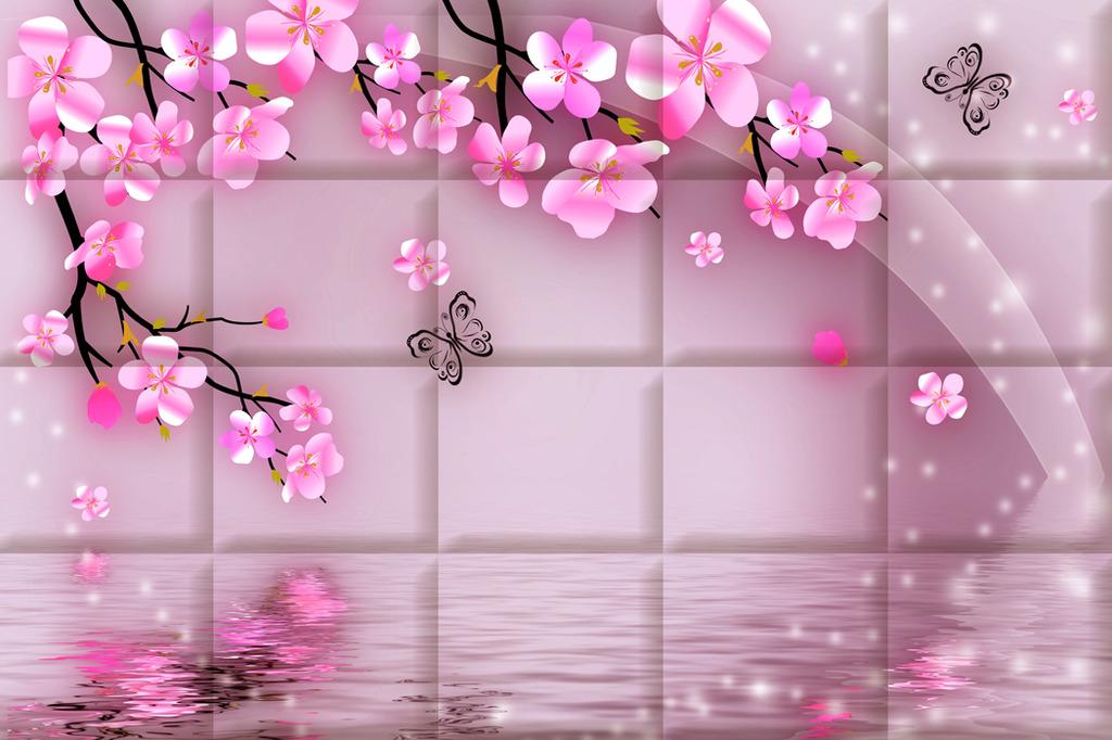 桃花盛开雅致3d背景墙