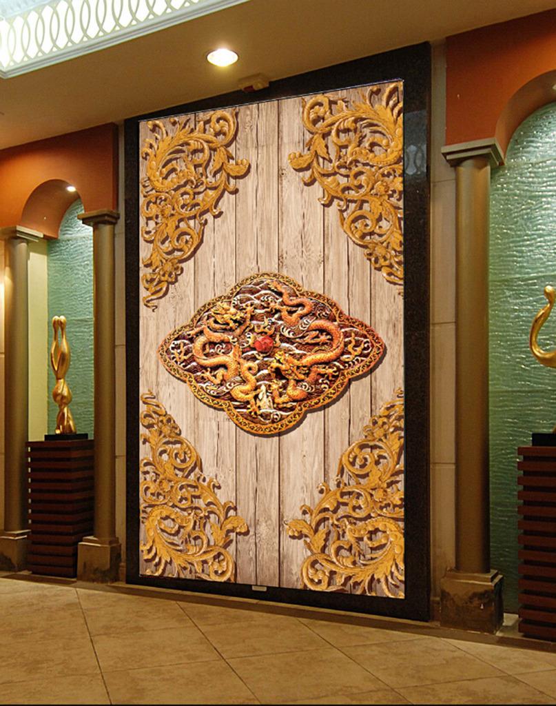 客厅3d木雕龙玄关背景墙图片