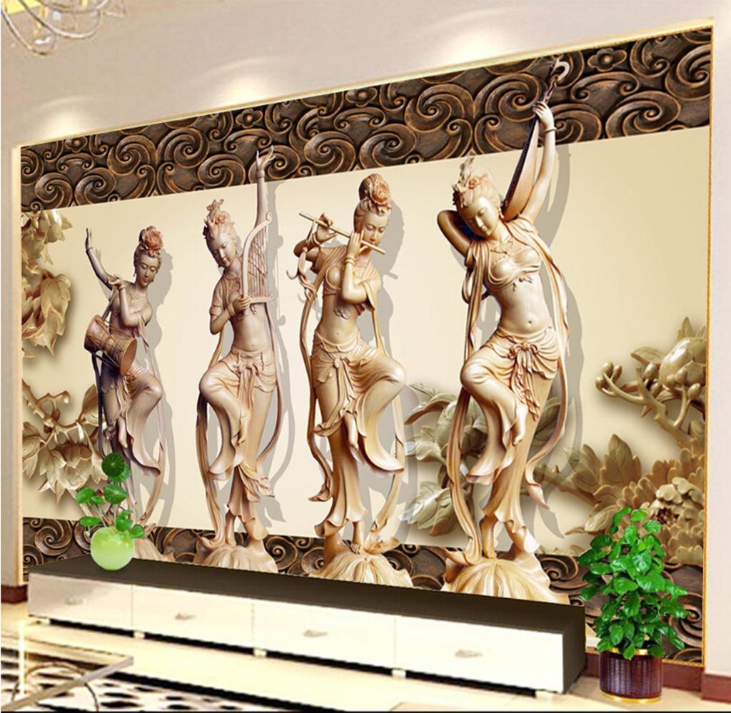 古代四大美女舞蹈木雕背景墙