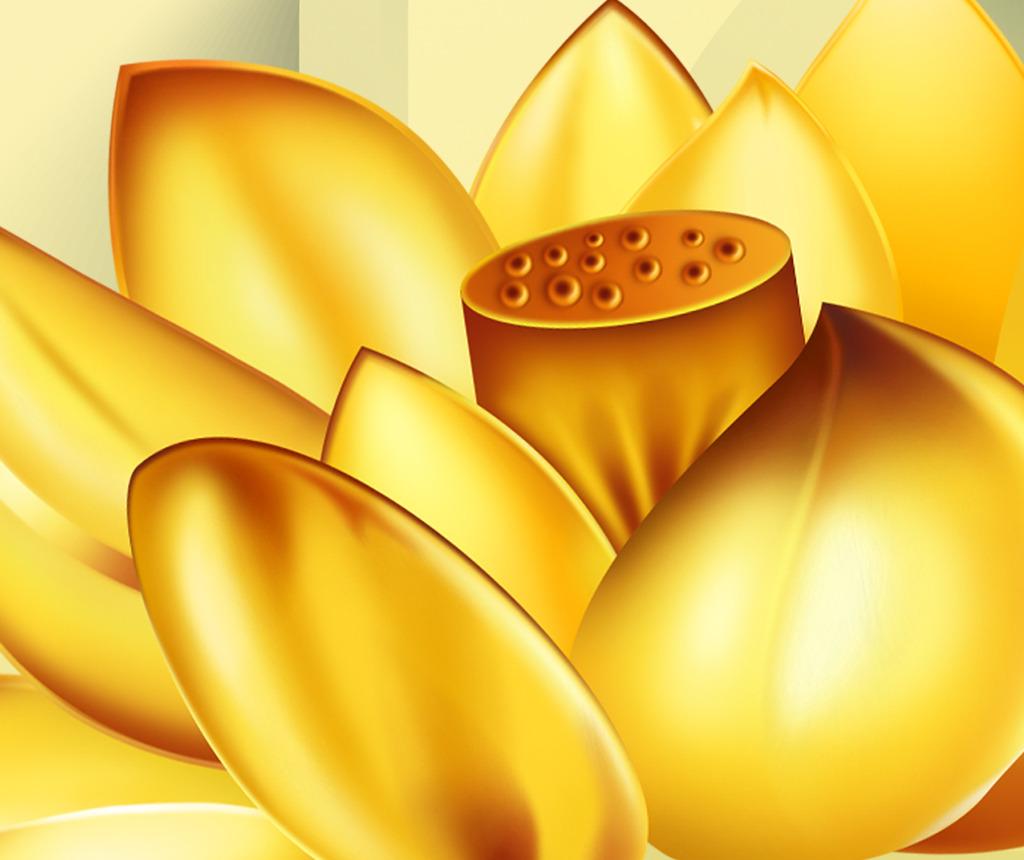 3d立体金色荷花家和富贵九鱼图电视背景墙