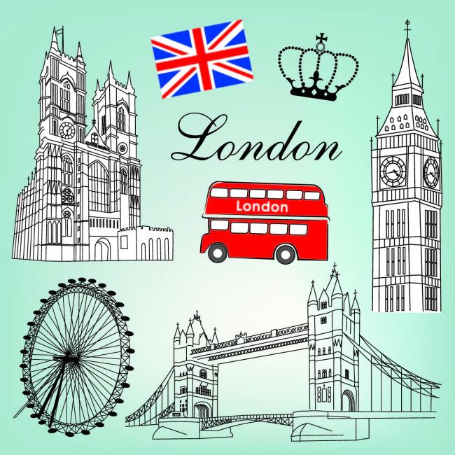 手绘英伦建筑模板下载 手绘英伦建筑图片下载 手绘 大桥 英国 钟楼 双