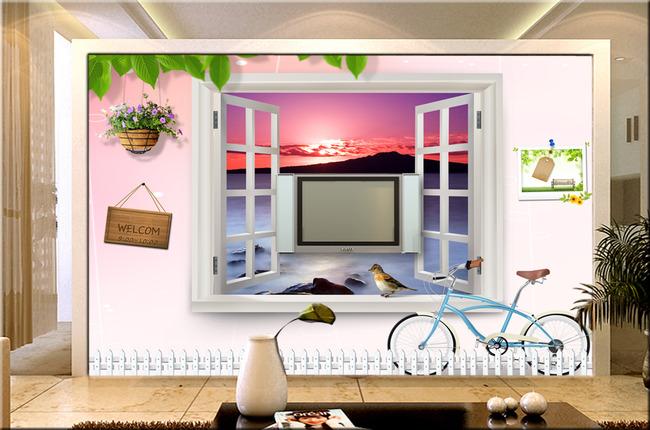 儿童房间卡通窗户风景3d立体卧室背景墙