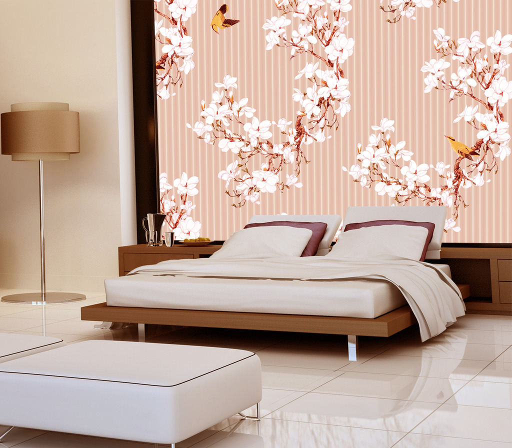 手绘花鸟手绘壁画花鸟图图片下载 手绘花鸟图  新中式花鸟  床头背景