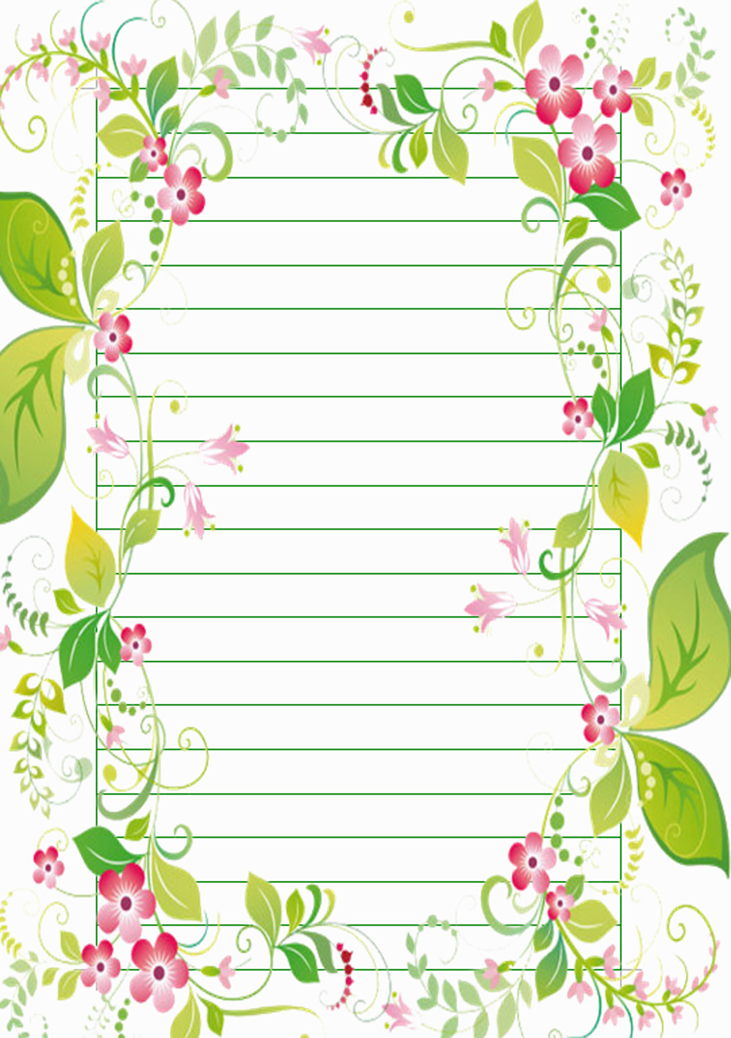 花藤边框信纸背景图片