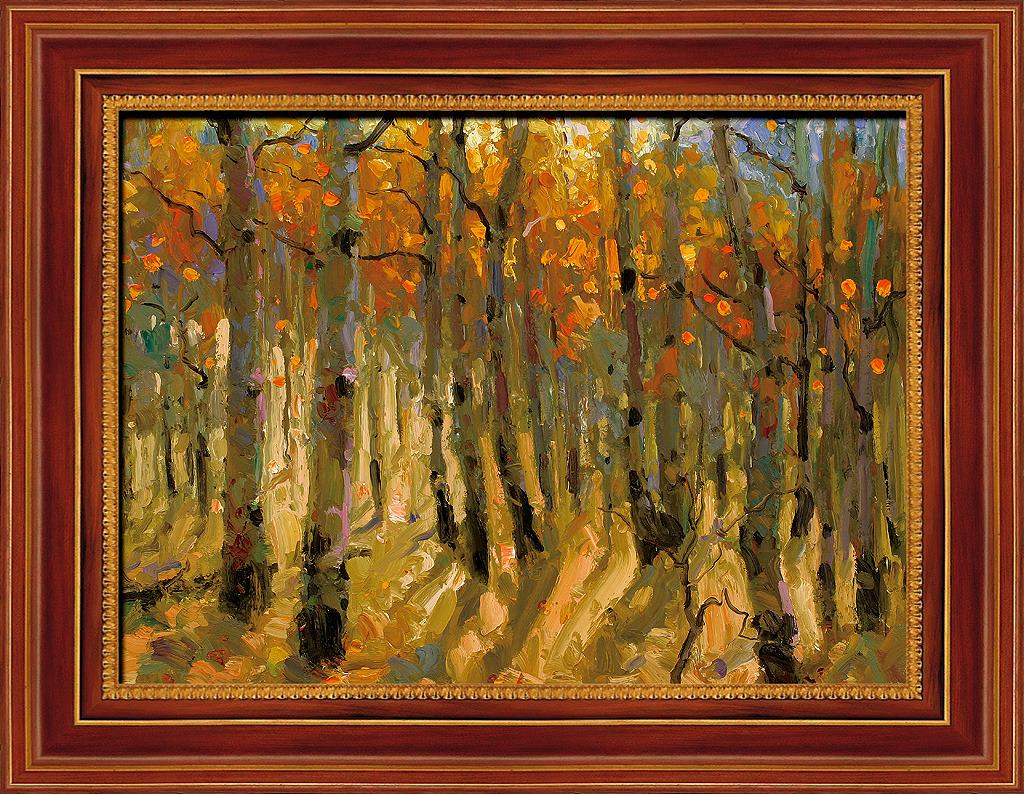 唯美树木风景油画图片下载