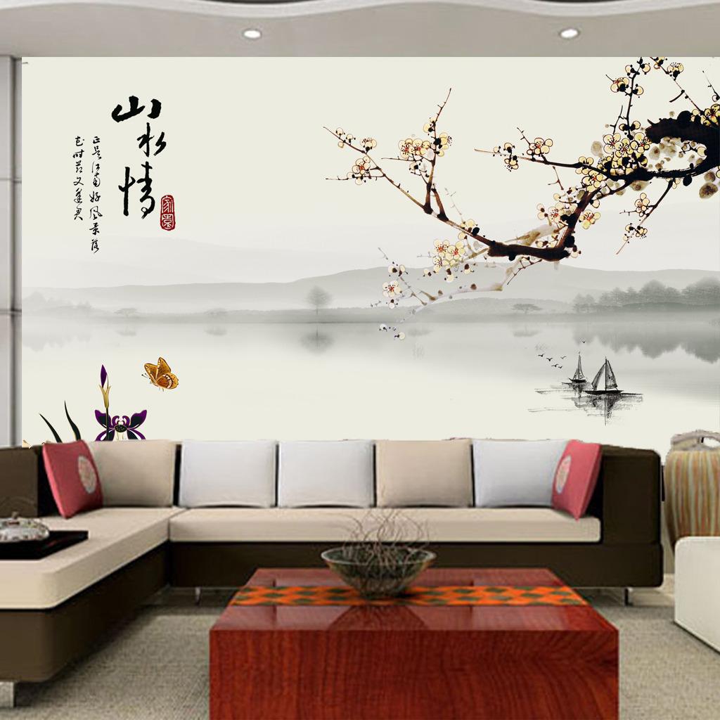 背景墙|装饰画 电视背景墙 中式电视背景墙 > 山水情中国式梅花山水