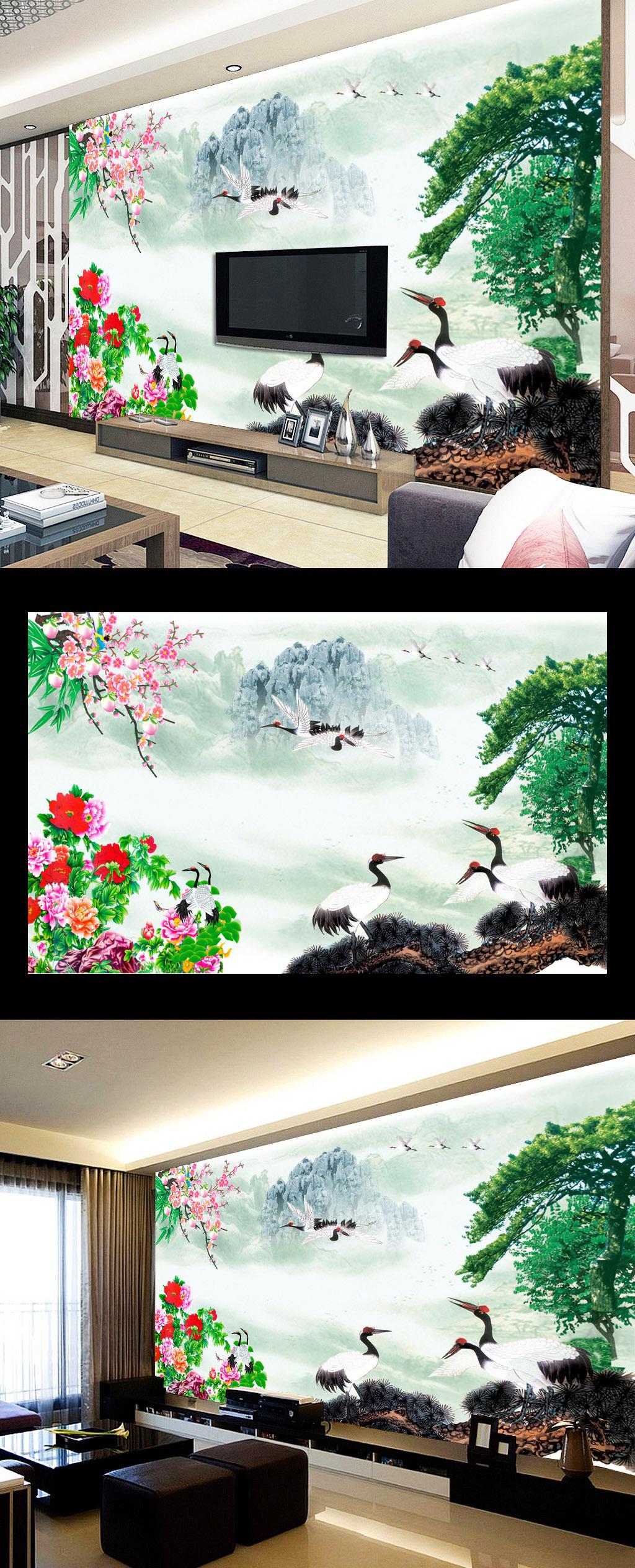 仙鹤传说水墨中国风立体风景国画壁画装饰画