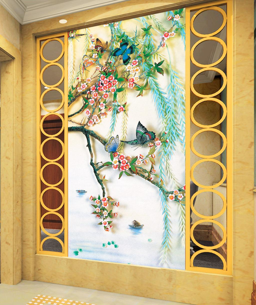 鸟语花香手绘立体油画工笔画玄关背景墙