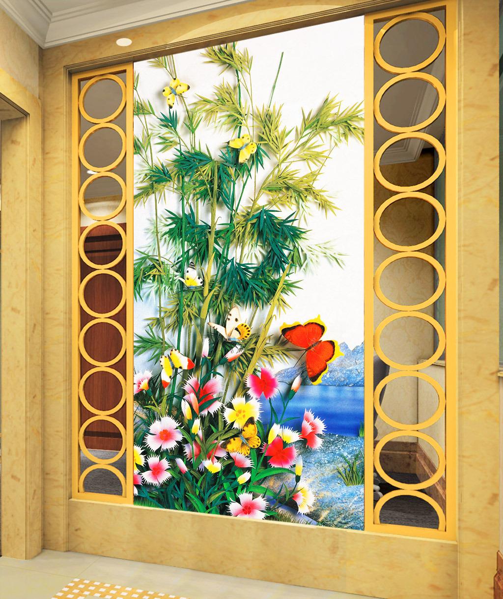 绿竹雅庭花开富贵工笔画手绘立体玄关装饰画