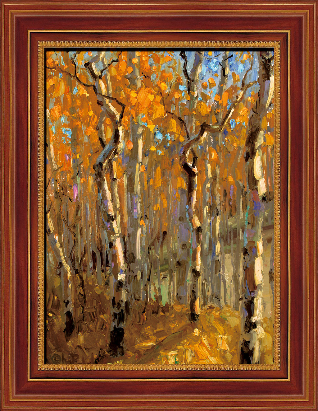 欧式风景树木油画图片