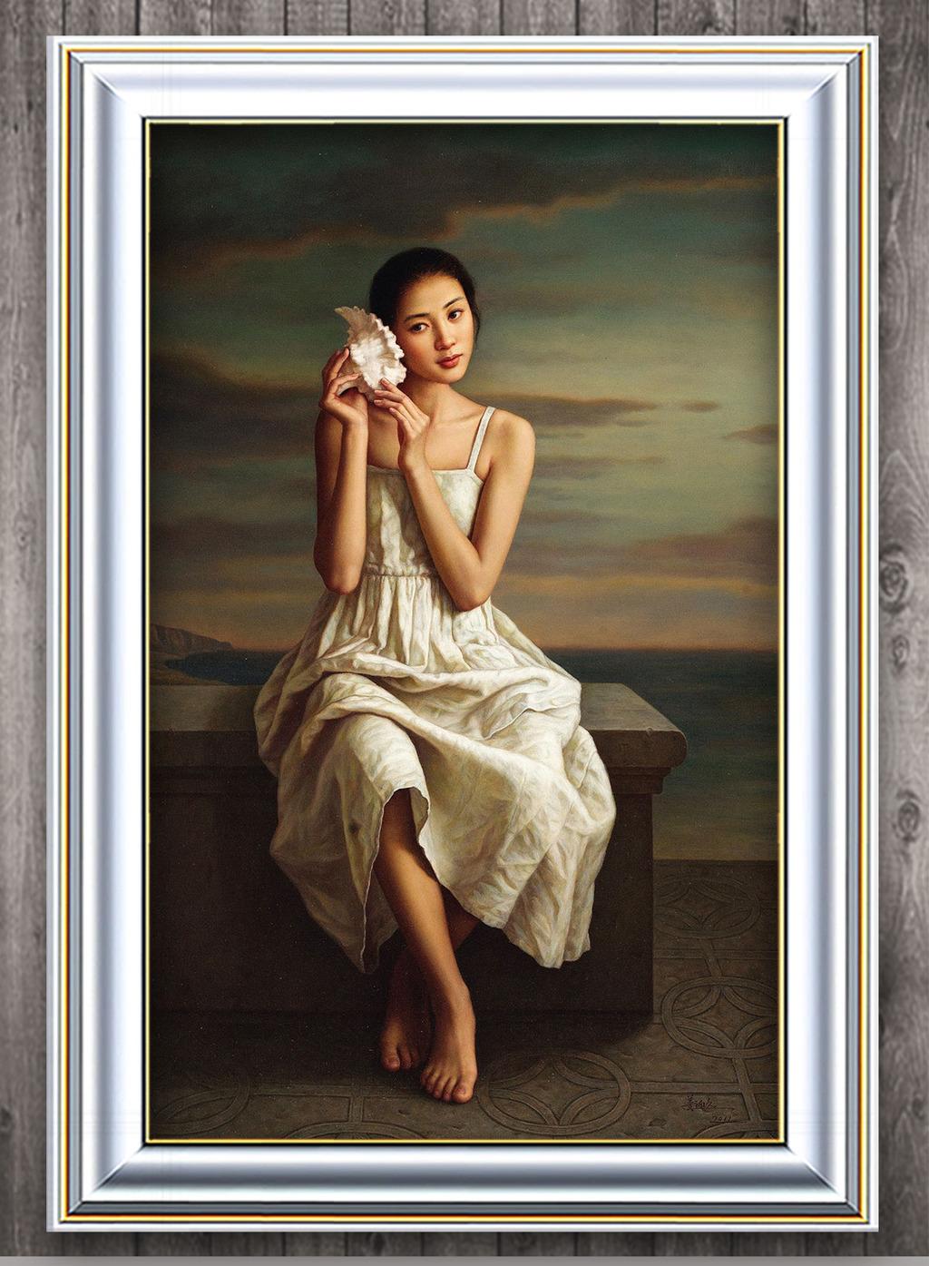 背景墙|装饰画 油画 人物油画 > 听海螺的白裙少女现代风格油画  编号