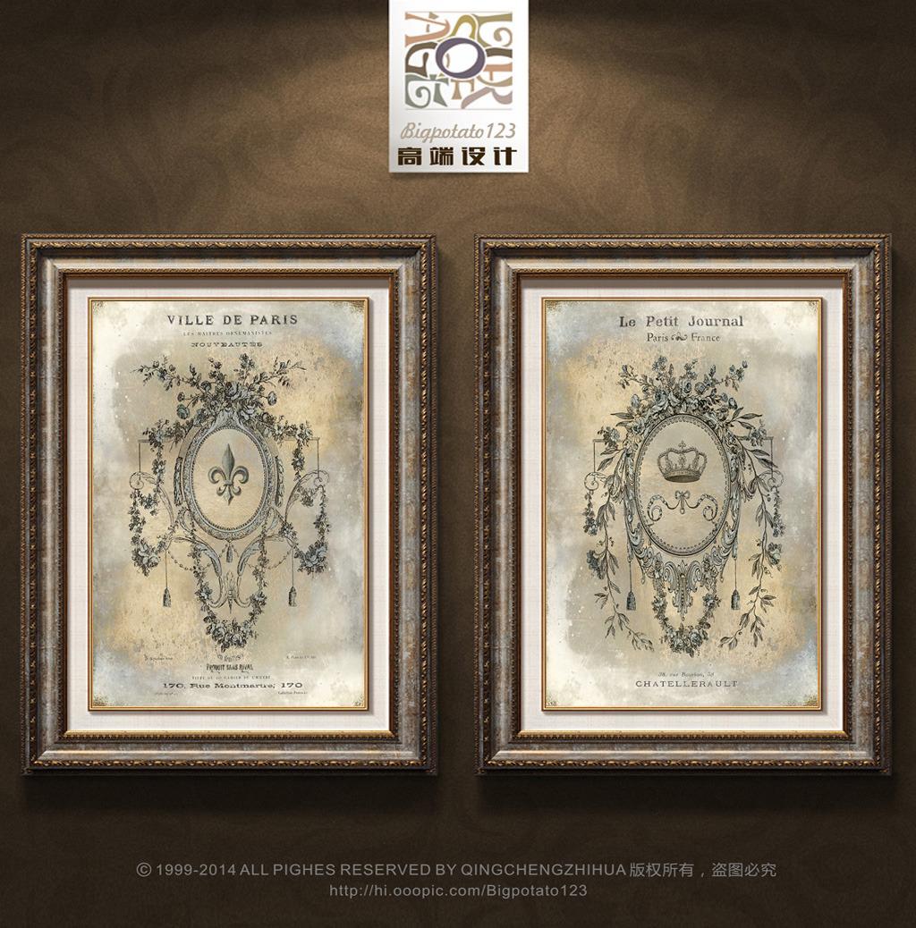 欧式复古建筑花纹装饰画