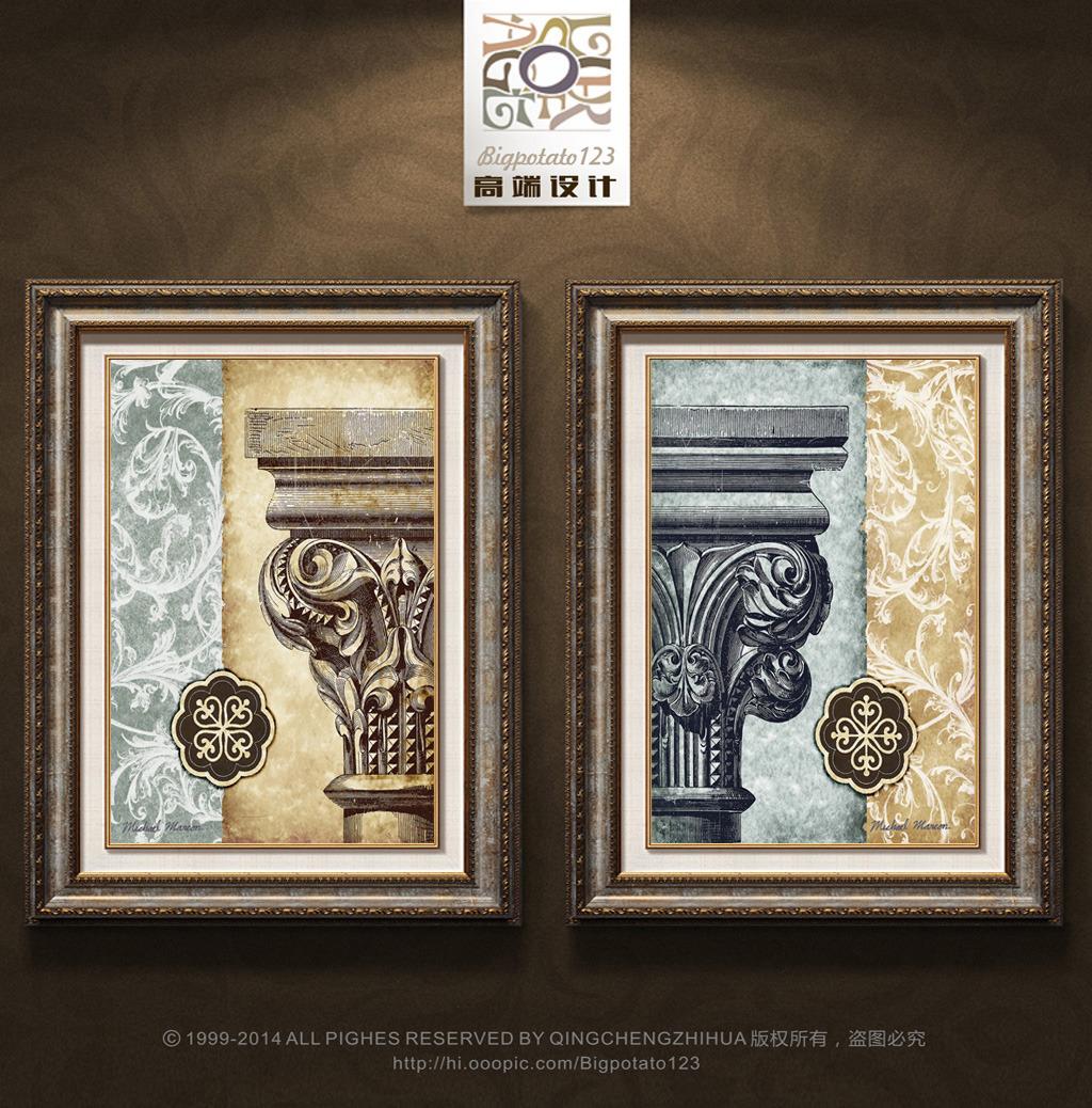 欧式复古花纹罗马柱装饰画