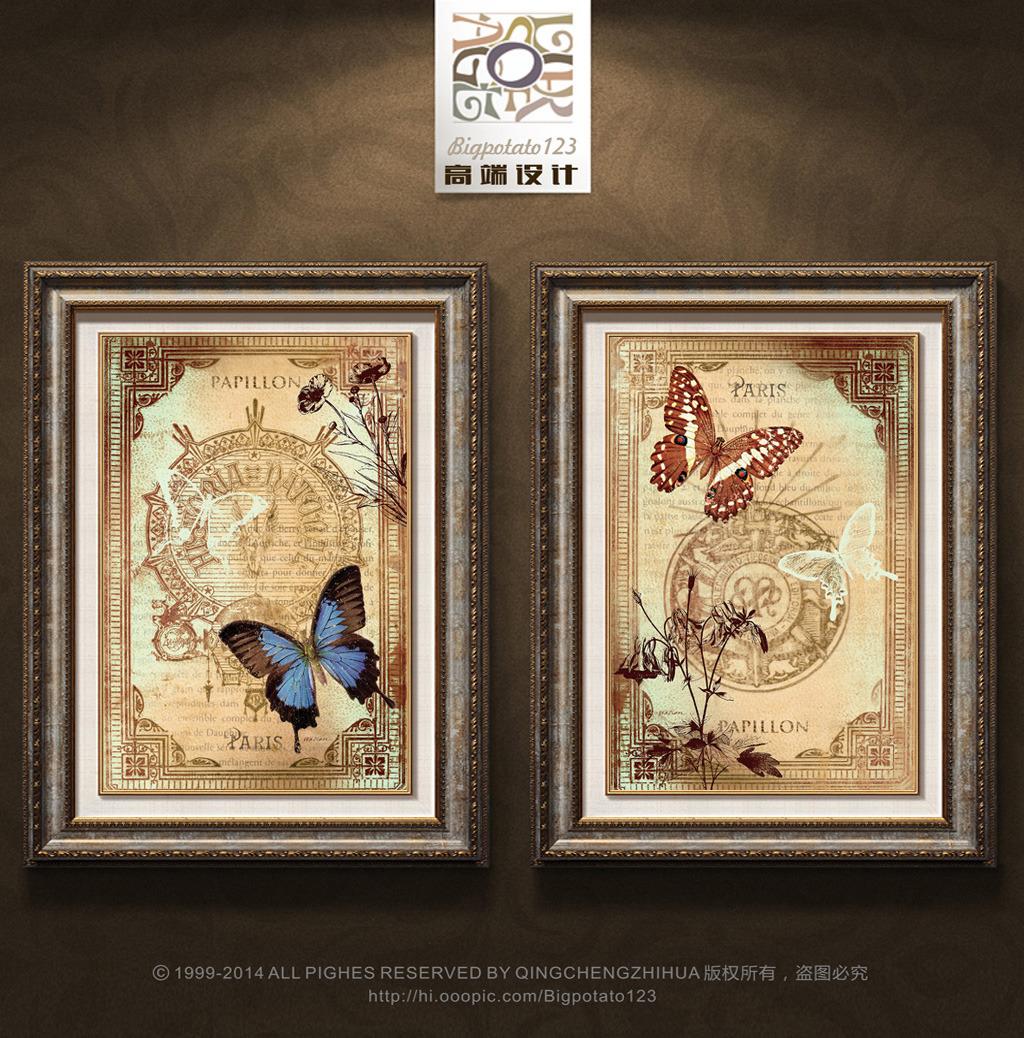 欧式复古花纹蝴蝶装饰画