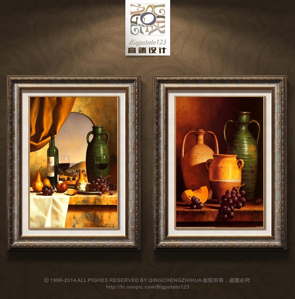复古民族土罐罐子葡萄装饰画图片