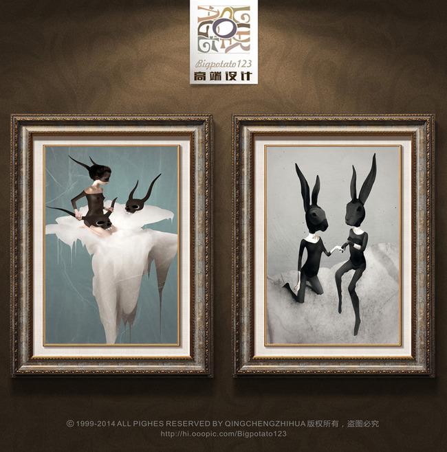 抽象儿童人物兔女郎装饰画