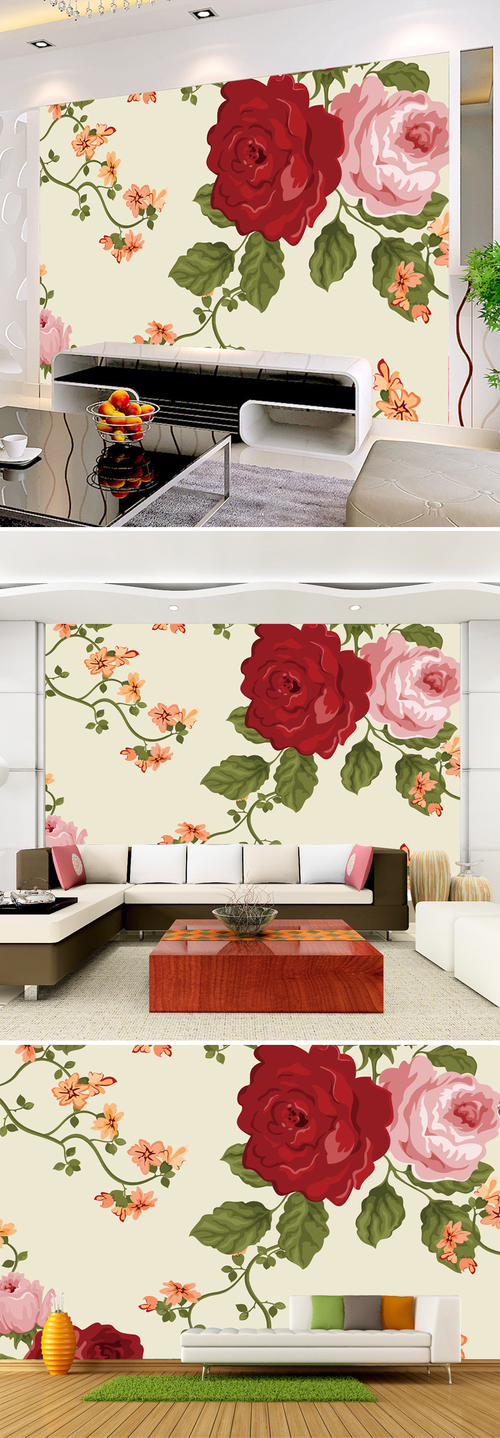 手绘牡丹背景墙