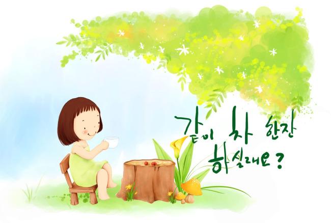 韩版卡通模板下载 韩版卡通图片下载 韩版 卡通 女孩 树 花