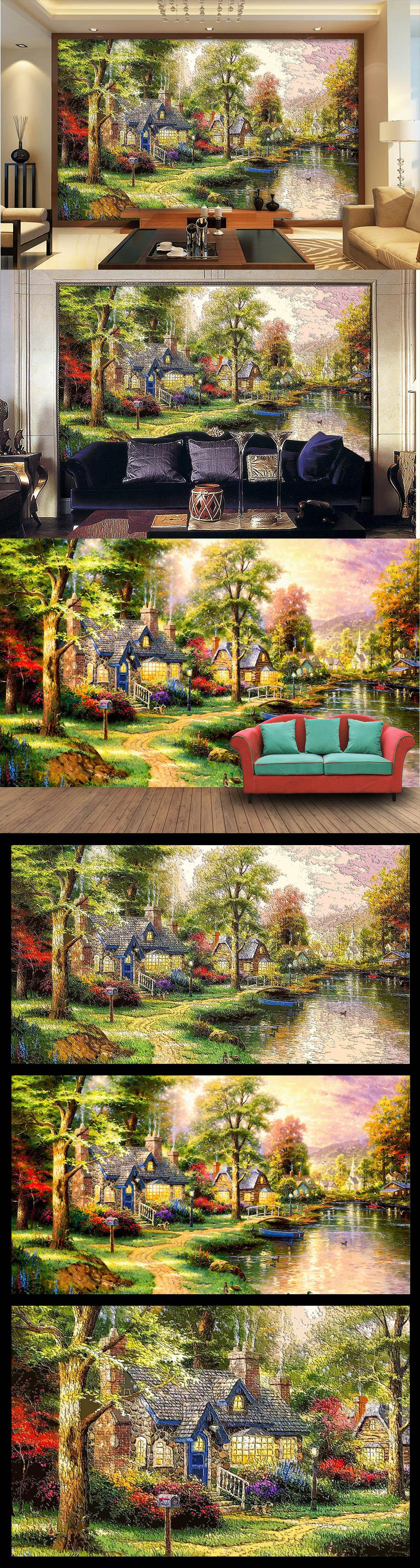 木雕木刻风格欧美乡村森林小屋油画电视墙