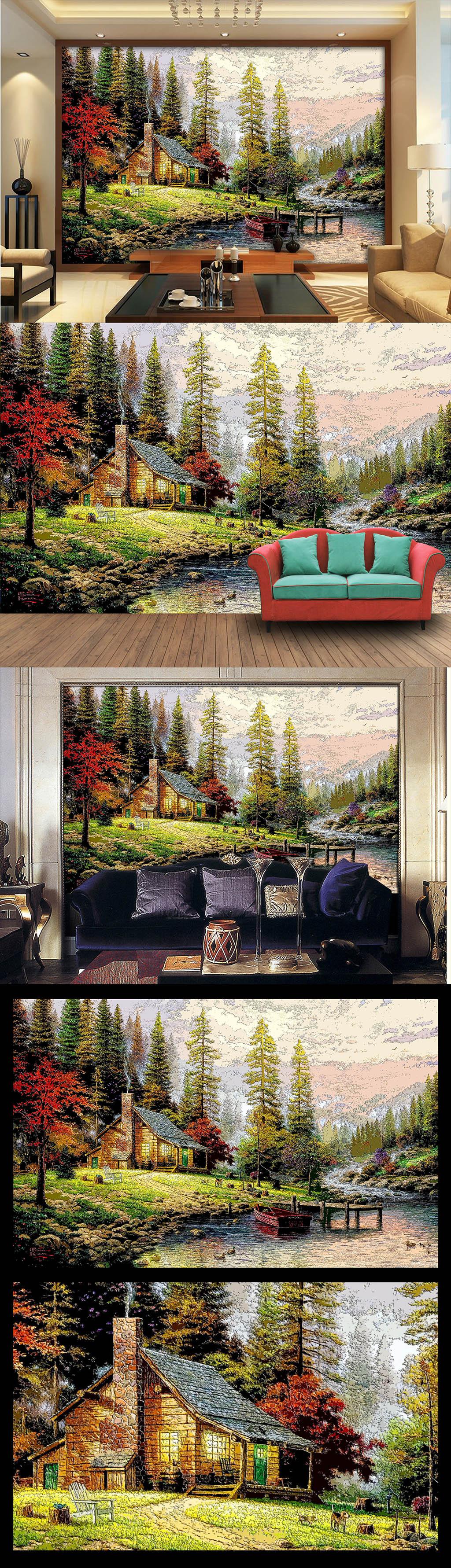 木雕木刻效果欧美乡村森林小屋油画电视墙
