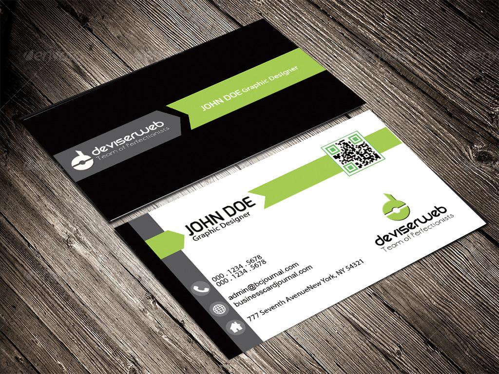 创意黑绿商务名片模板设计模板下载