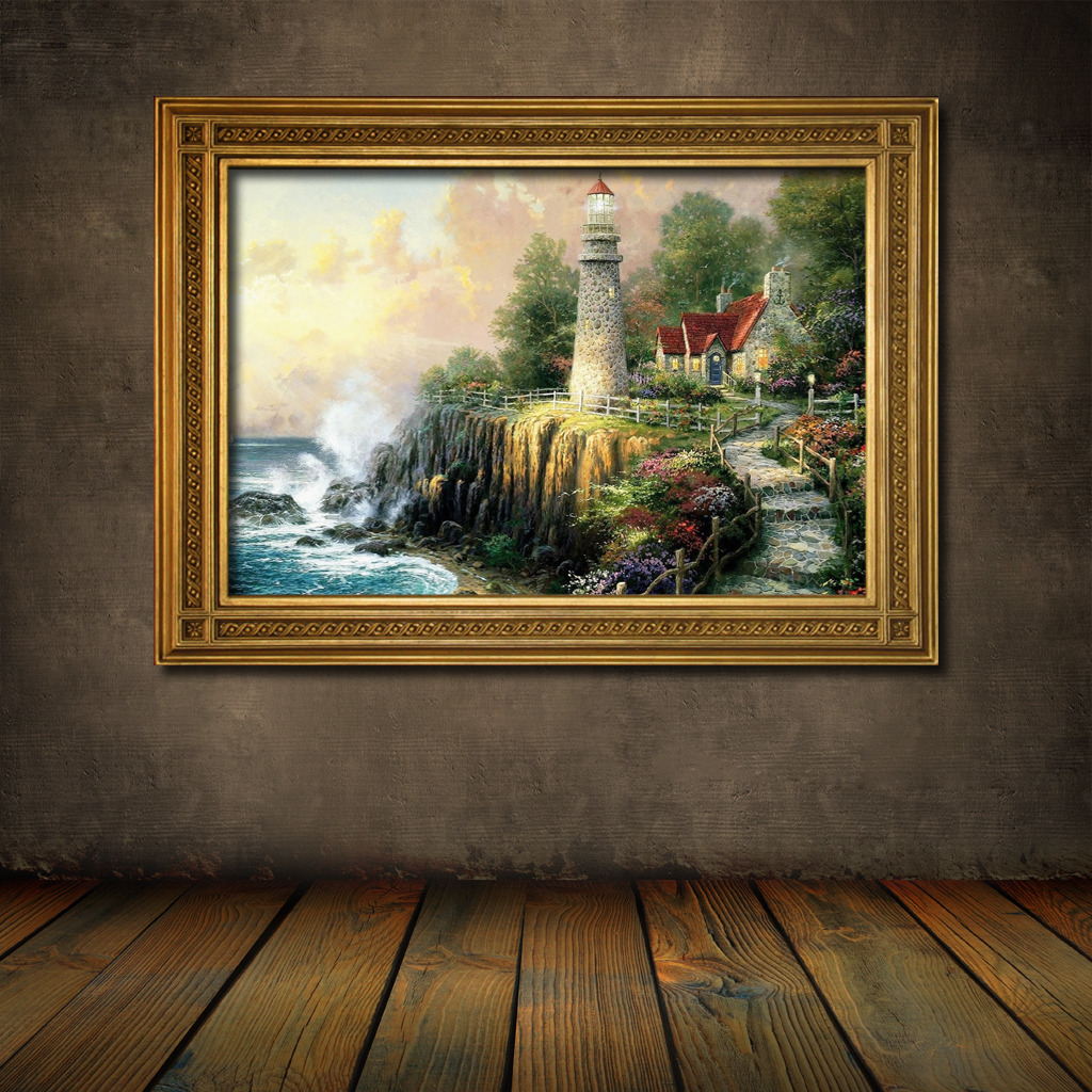 手绘唯美风景油画
