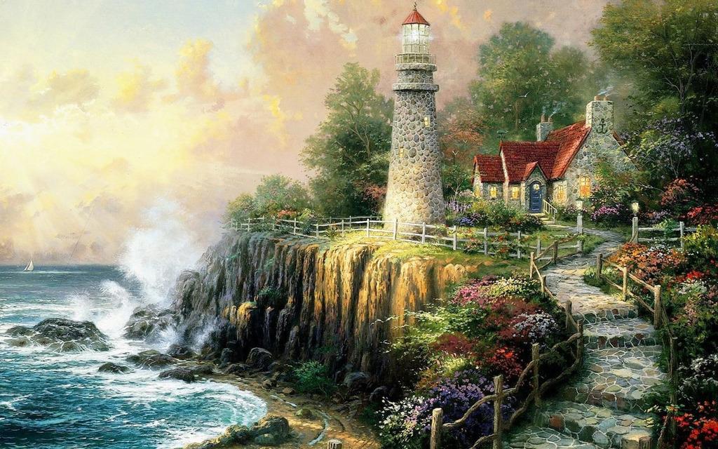 手绘唯美风景油画图片