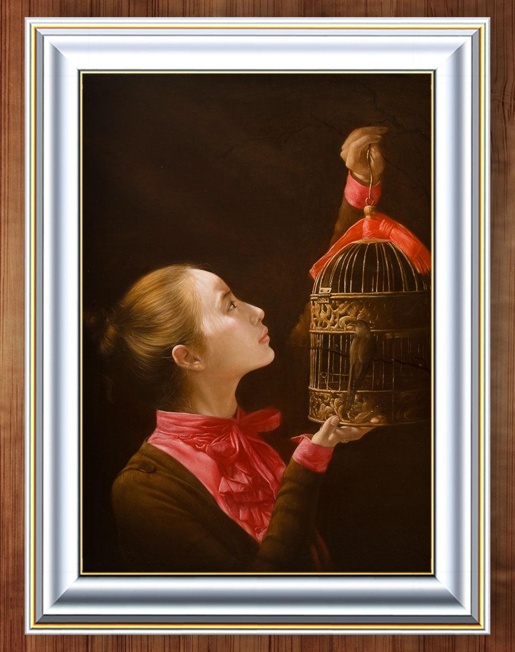 端庄 古典 美丽 美女 现代人物 现代油画 油画背景 人物油画 写实风格