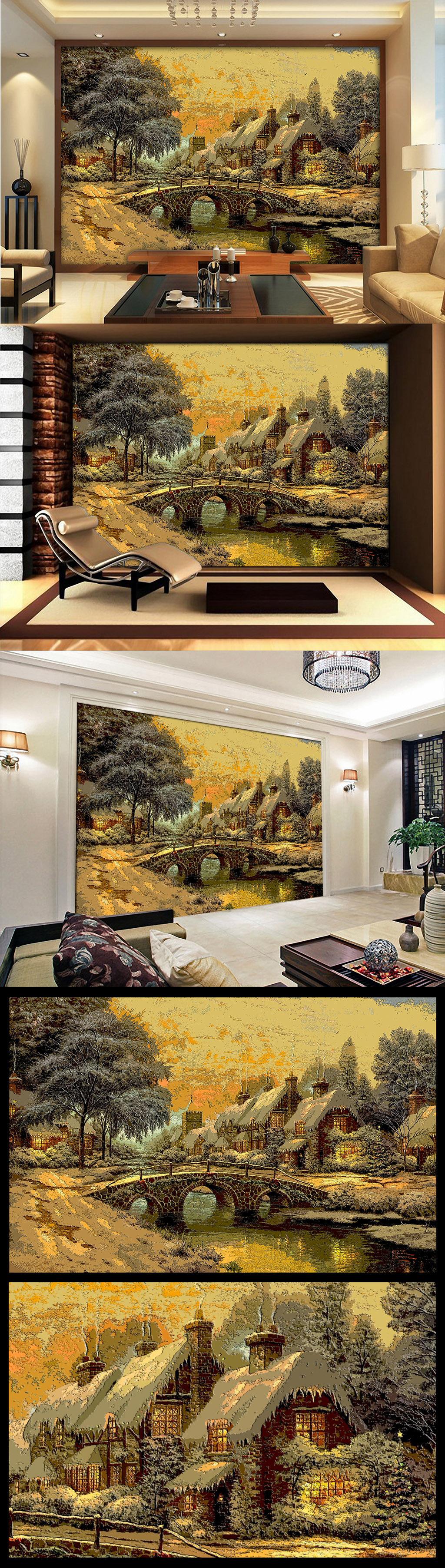 木雕木刻效果欧美乡村田园小屋油画电视墙