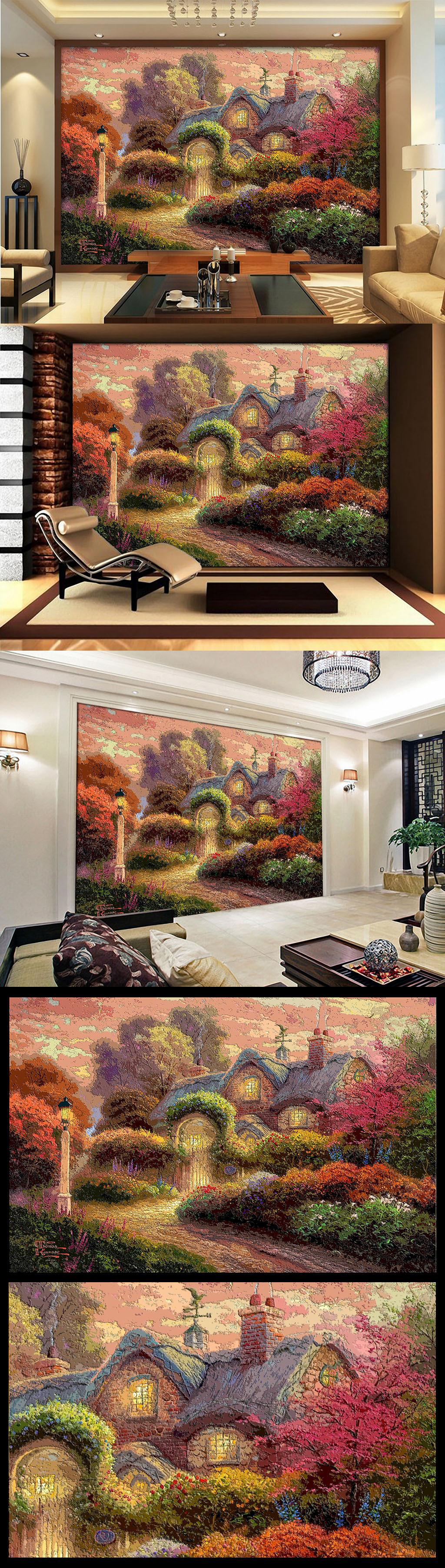 木雕木刻效果欧美乡村农家小屋油画电视墙