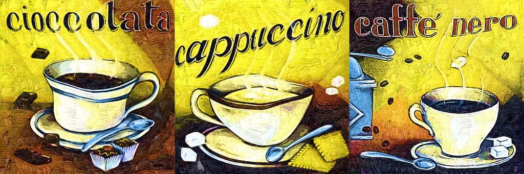 餐厅画咖啡油画卡通画