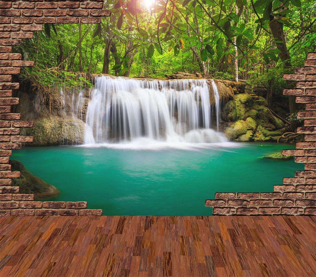 3d立体砖墙江山如画山水风景画电视背景墙图片
