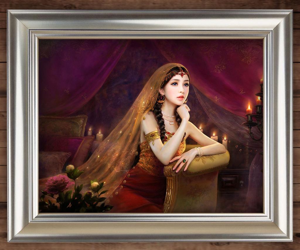 端庄 烛光 美丽 美女 现代人物 现代油画 油画背景 人物油画 写实风格