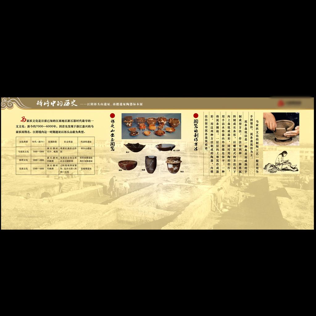 祁头山出土陶器 陶器的制作方法 表格照片博物馆 展览 宣传 广告 海报