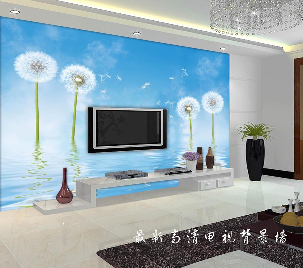 蓝色蒲公英电视背景墙