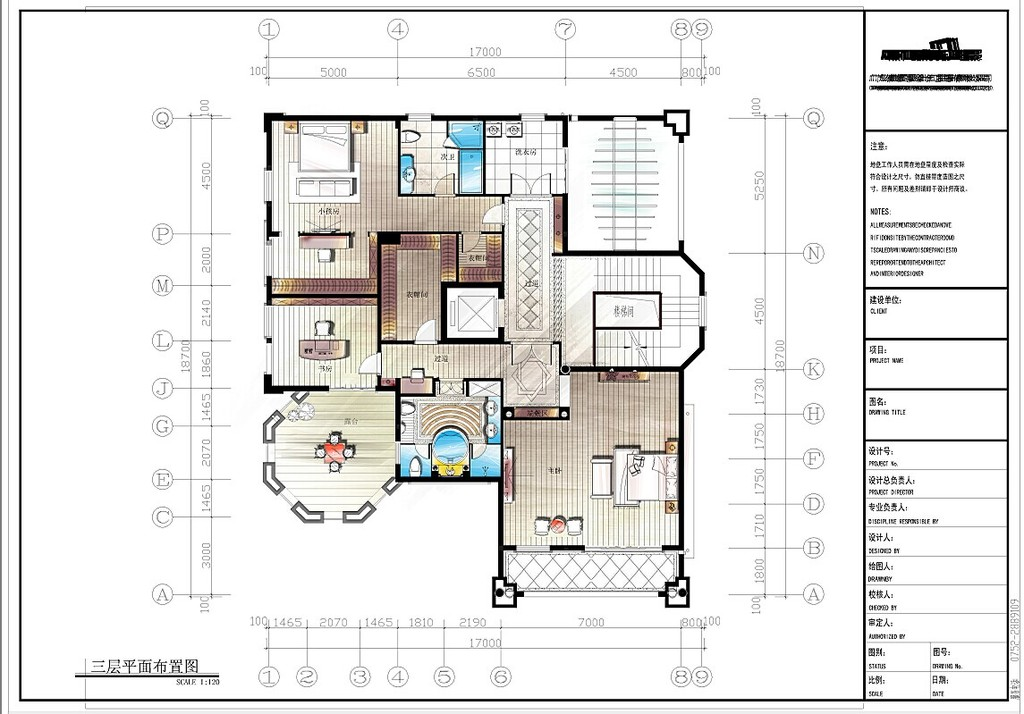 室内设计 户型图 三居室 > 三室一厅彩色平面psd  下一张&gt
