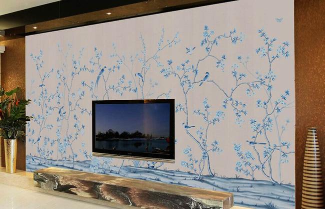 手绘电视背景墙(tf带通道)