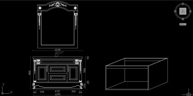 实木雕花罗马柱卫浴柜效果图