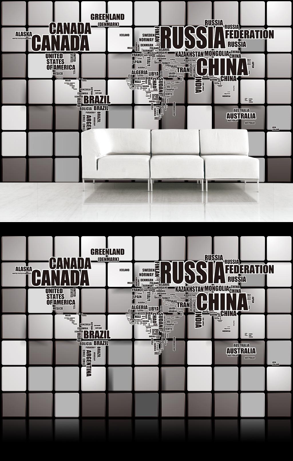 装饰画 现代 壁纸 墙纸 沙发背景 3d 立体 方块 格子 世界地图 英文