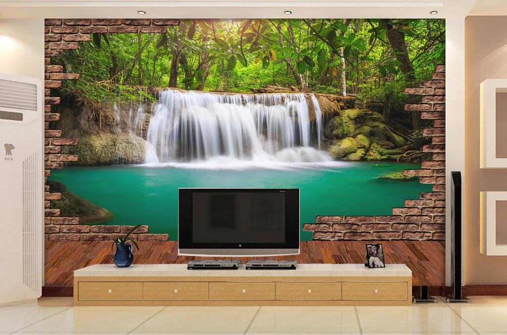 3d电视背景墙壁纸壁画3d山水画