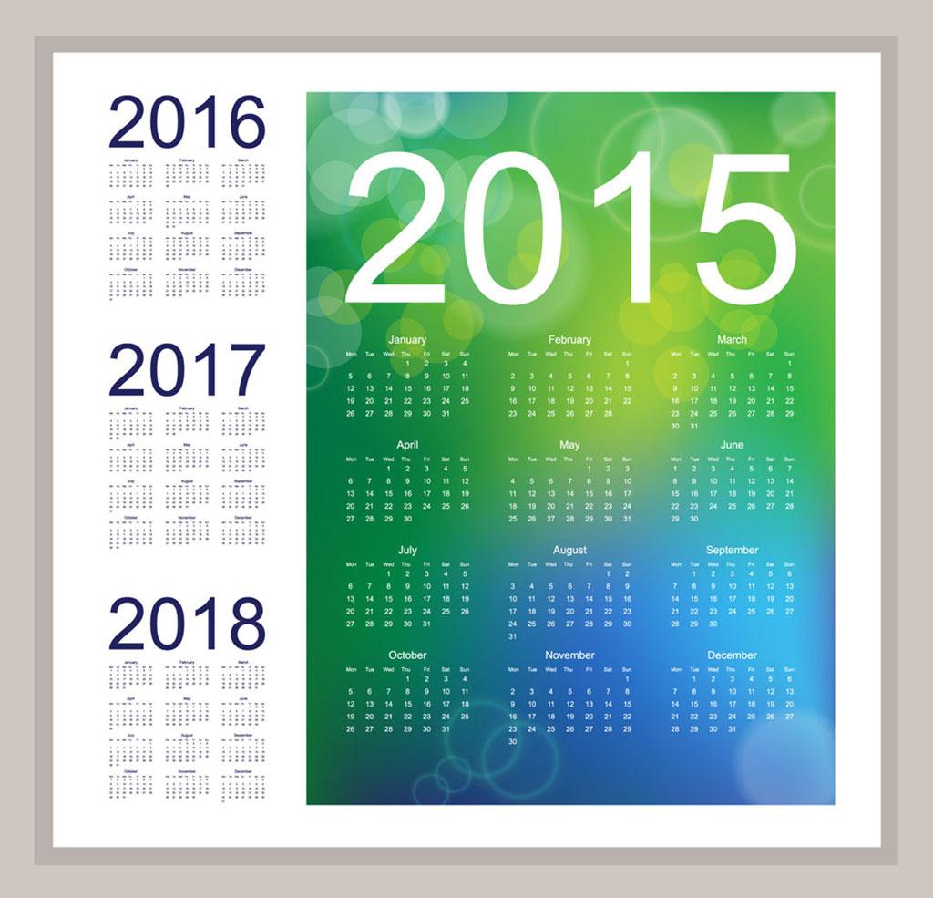 2015年 2016年 2017年 2018年 日历挂历台历 eps日历模板 2015年台历