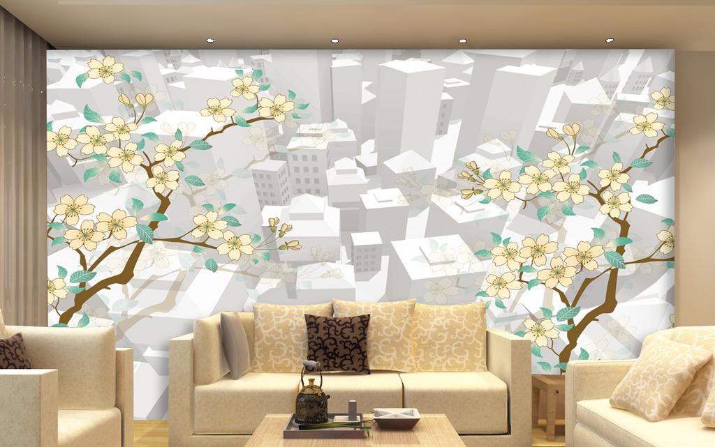 手绘3d电视背景墙素材