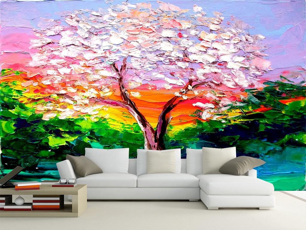 手绘立体油画树木电视背景墙