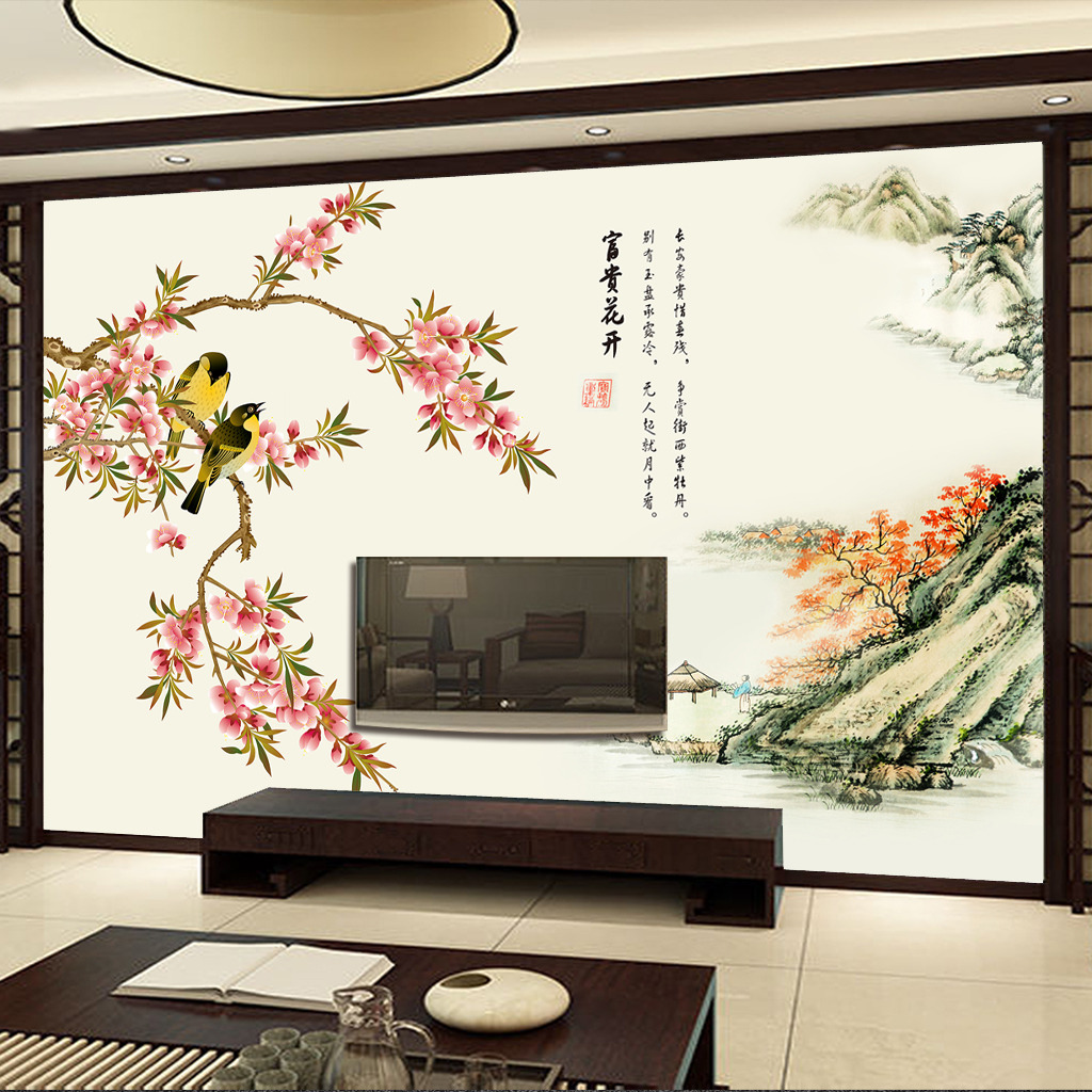 花卉山水中式电视背景墙壁画