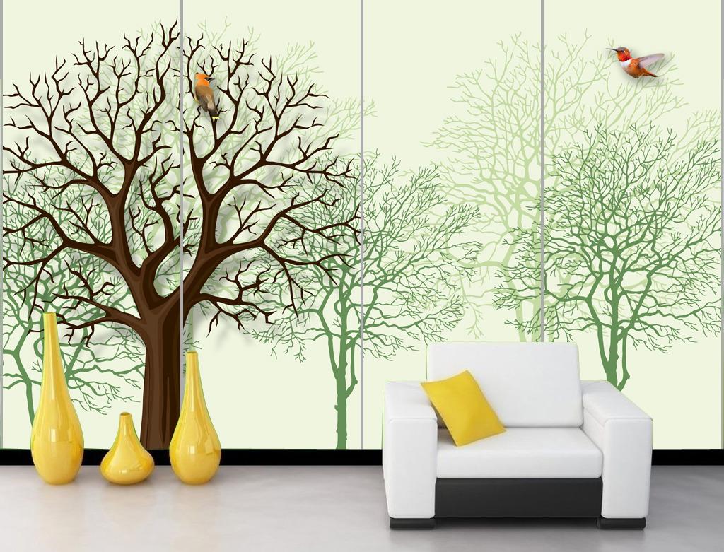冬季冬天大树树枝小鸟客厅电视背景墙