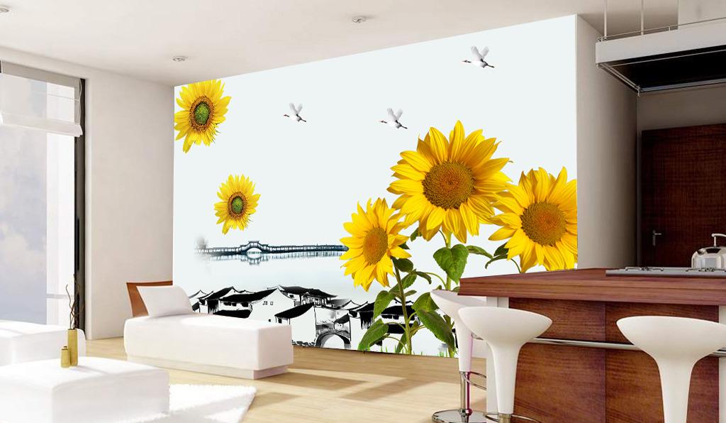 画向日葵客厅电视背景墙图片下载 电视背景墙艺术玻璃舞台紫色手绘