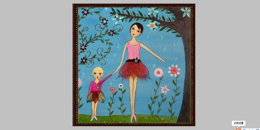 卡通人物 手绘图片 花 树 商场无框画 手绘油画 商场装饰画 树林 唯美