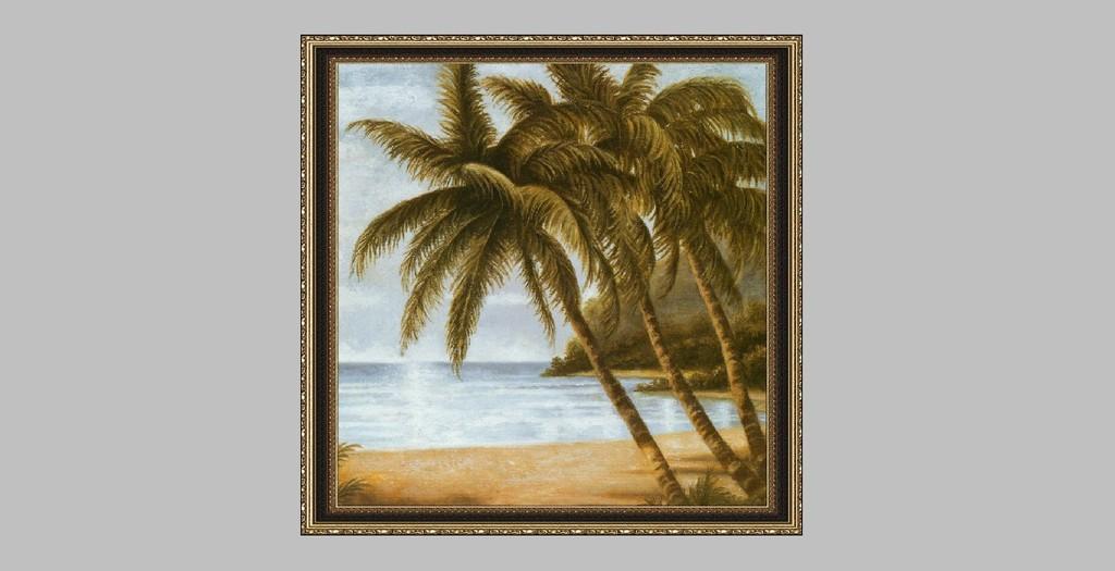 白云 沙滩风景油画 手绘图片 树 室内装饰画 手绘油画 商场装饰画