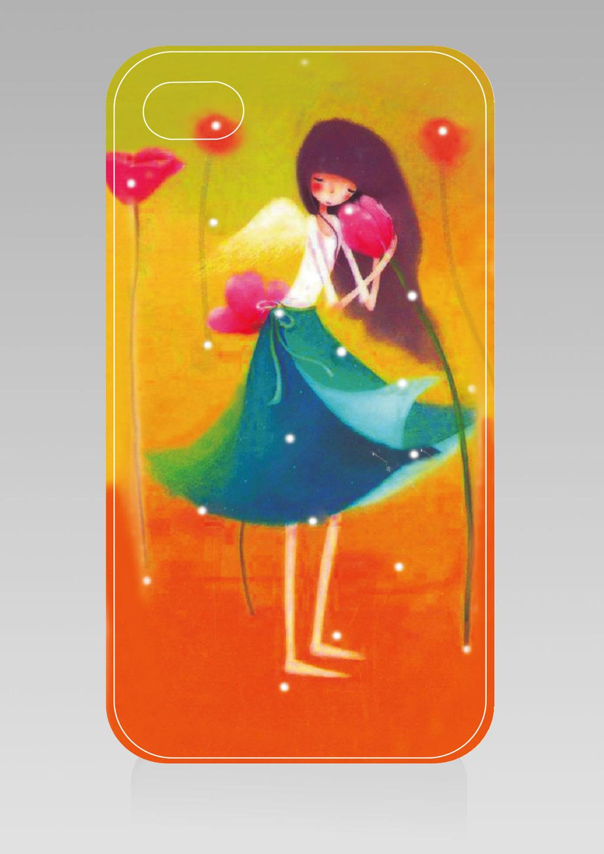 手绘卡通女孩手机壳设计